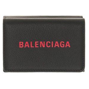 New Balenciaga Black Leather Everyday Trifold